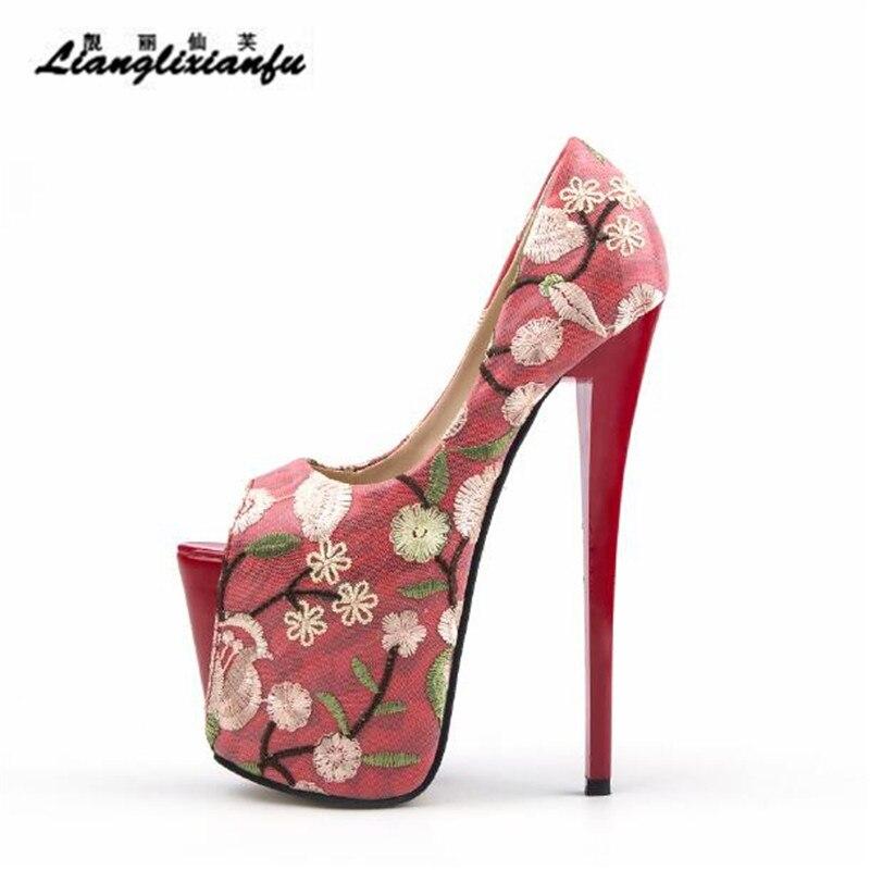 LLXF sandalias de verano Rojas 22cm zapatos de tacón alto fino Mujer Stiletto mujer boda Peep Toe bordado retro Pumps Plus 34-46 47