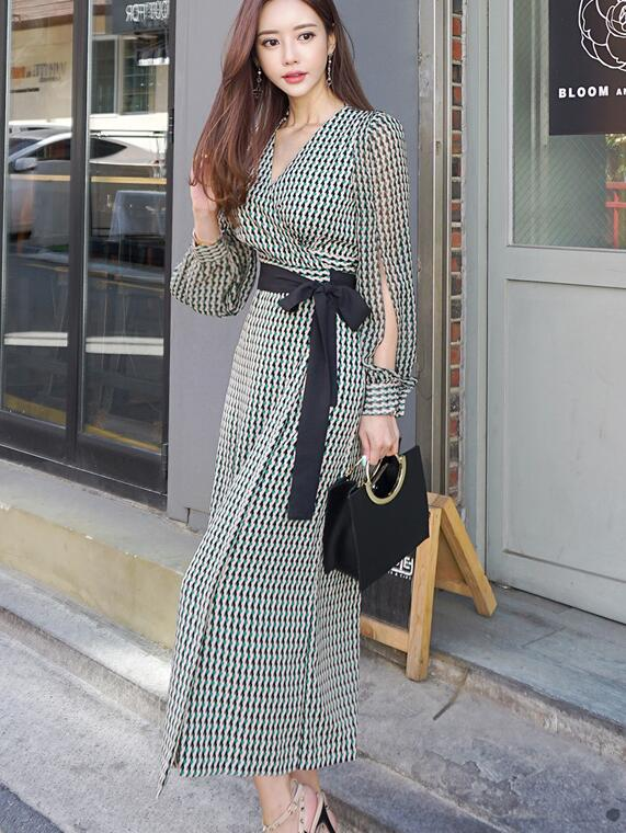 High Quality Hot Sale 2018  Autumn New Arrival Elegant  V Collar Plaid Long Sleeve A Patterned   Woman Chiffon Long  Dress