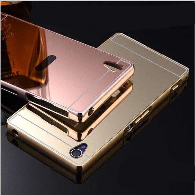 Para Sony Z3 Compact Luxury Gold Mirror Metal Aluminum + funda de acrílico para Sony Xperia Z1 Z2 Z3 Z4 funda de teléfono