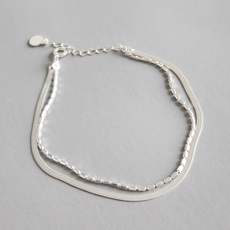 Fina fina auténtica Plata de Ley 925 con doble hilera/pulseras multicapa con cadena de eslabones joyería fina para cuentas europeas S21