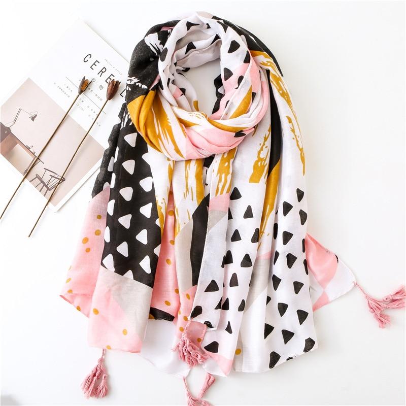 KYQIAO women autumn spring Spain style long hippie ethnic pink geometric patchwork scarf muffler wraps shawl