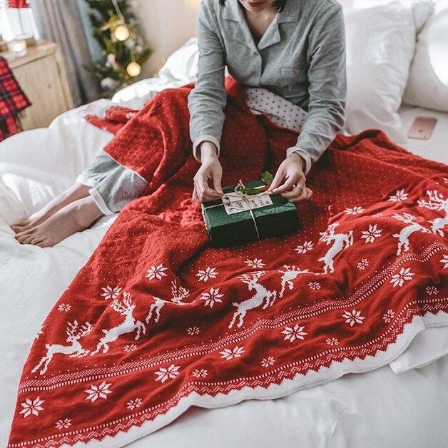 Pwb الشمال نمط عيد الميلاد الغزلان دثار محبوك موضوع بطانية ملاءات تكييف الهواء رمي البطانيات على أريكة