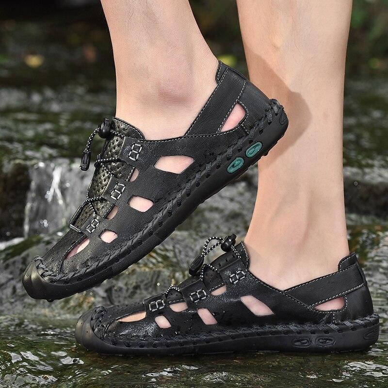 Große größe 38-48 Echtem Leder atmungsaktive Schuhe Sommer männer Sandalen Mode Sommer Casual Schuhe Männer Strand Alias männer Schuhe