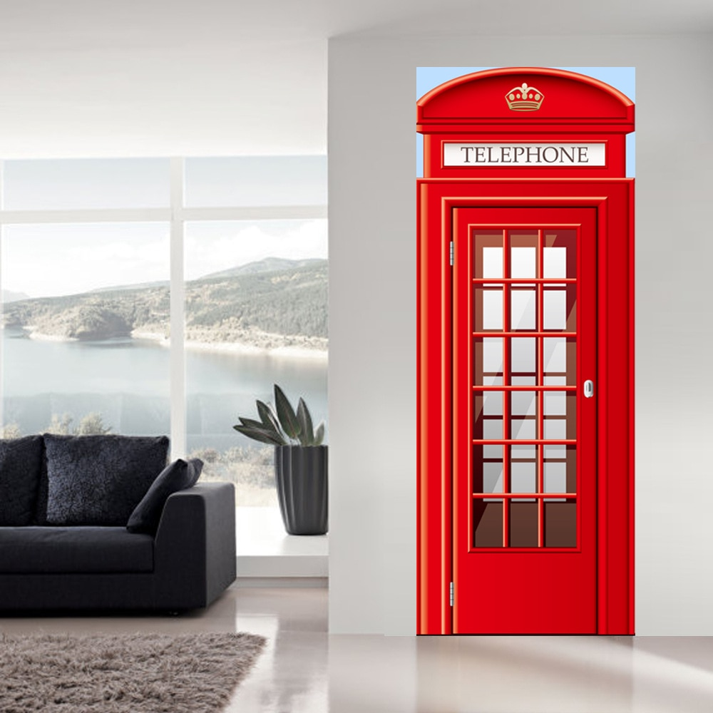 Pegatinas de pared de cabina de teléfono DIY Mural dormitorio decoración del hogar póster PVC impermeable imitación 3D pegatina de la puerta