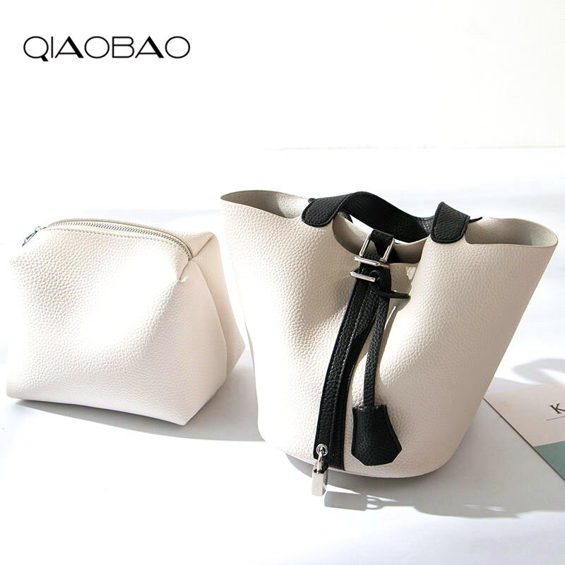 QIAOBAO 2020 Genuine Leather Bag new trend casual bucket bag fashion mini handbag basket classic handbag Lady small totes