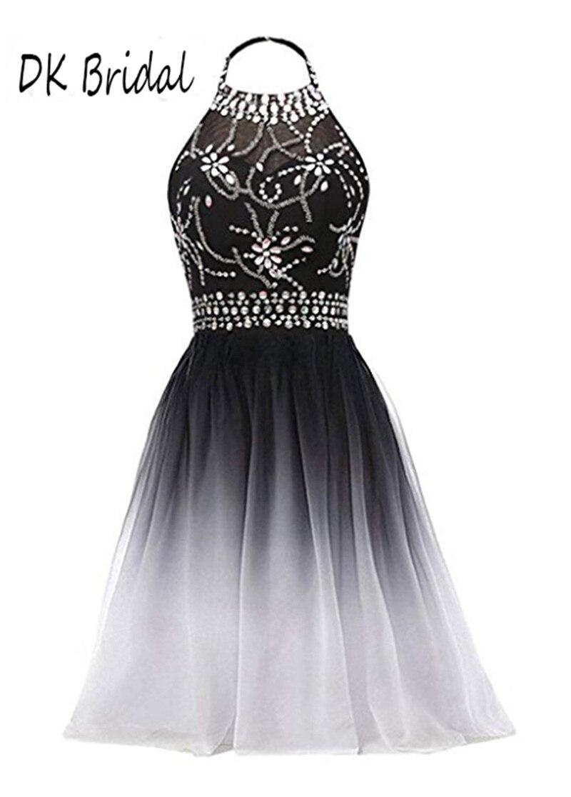 DK Bridal Halter gradientowe szyfonowe suknie dla druhen krótki czarny biały Ombre zroszony formalne suknie Prom sukienek DK1809