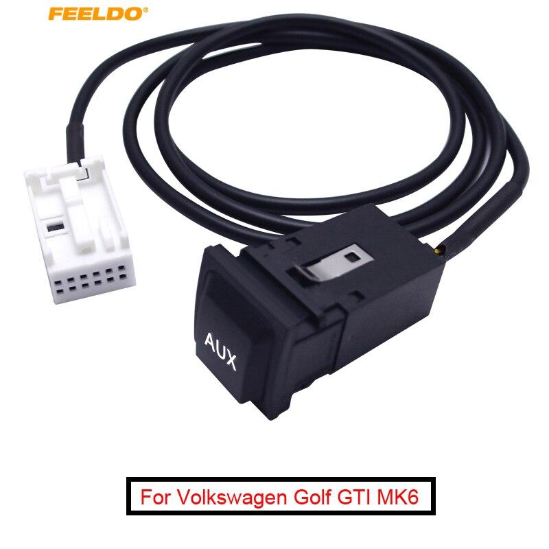 FEELDO 1 шт. автомобильный аудио AUX кабель штекер с переключателем для Volkswagen Golf GTI MK6 Sagitar SciroccoRCD510/300/310 # AM1868