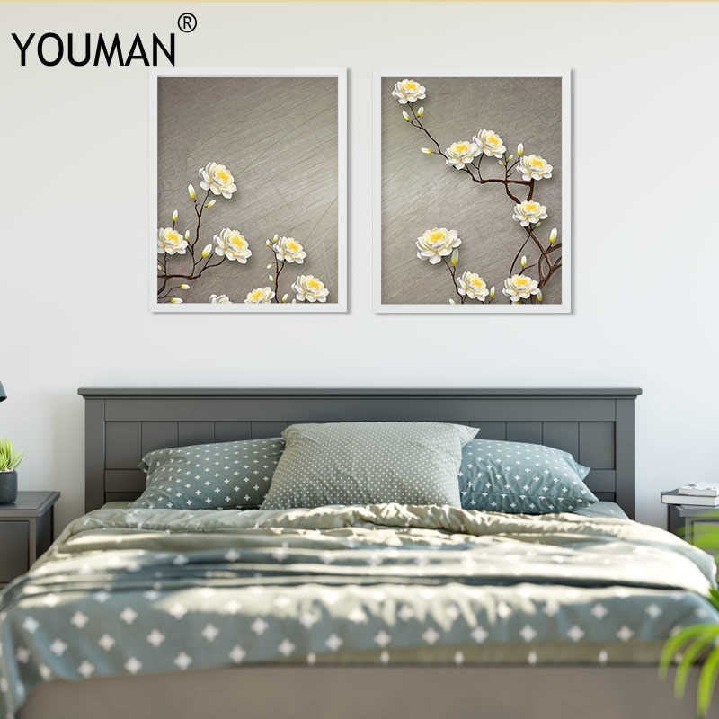 Nordic Frameless Poster Wallpaper Romantic Beautiful Flower Modern CanvasPainting Print Art Wall Picture Childrens Room