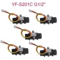 5pcs yf s201c g12 water flow sensor meter liquid fluid hall sensor milk coffee flowmeter counter 1 30lmin black