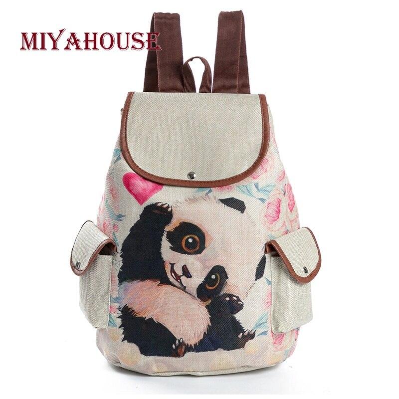 Miyahouse de dibujos animados diseño Animal de la escuela mochila para chicas adolescentes Material de lino bonito Panda impreso mochila Mujer