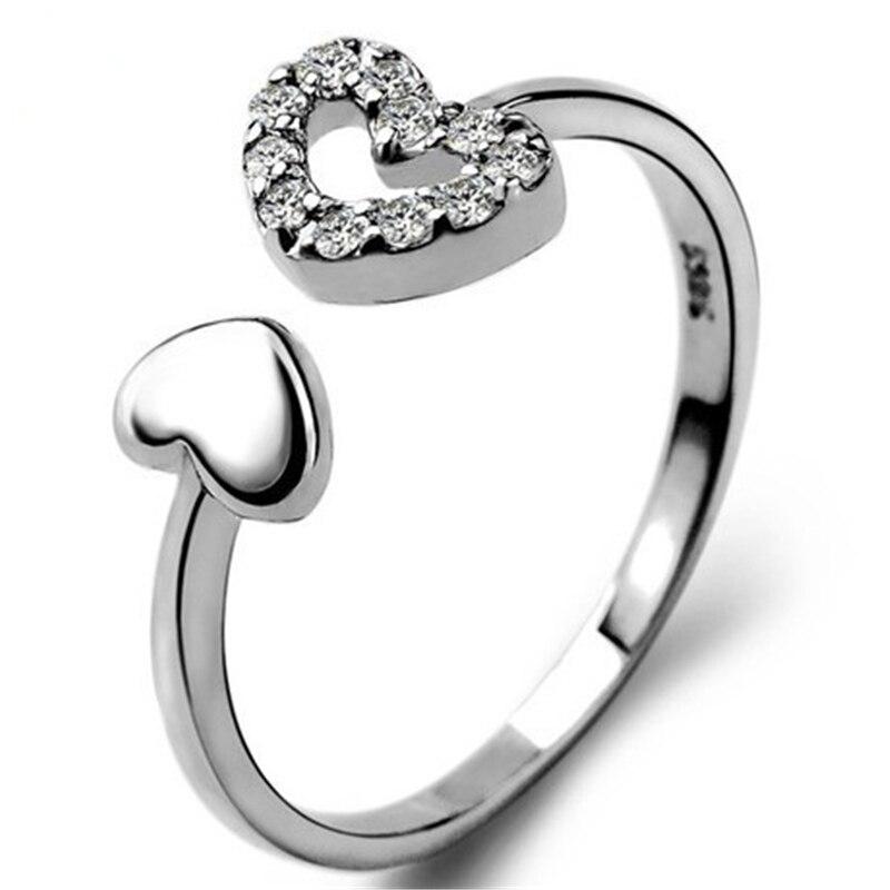 Anillo de compromiso HEYLUOKE 100% dos corazones claro CZ anillos de dedo de tamaño abierto para mujeres