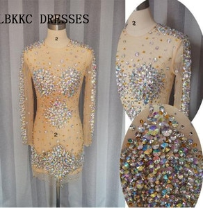 Vestido Branco Curto Sexy Cocktail Dresses See Through Homecoming Dress Tulle With Crystal Beaded Short Pron Gown