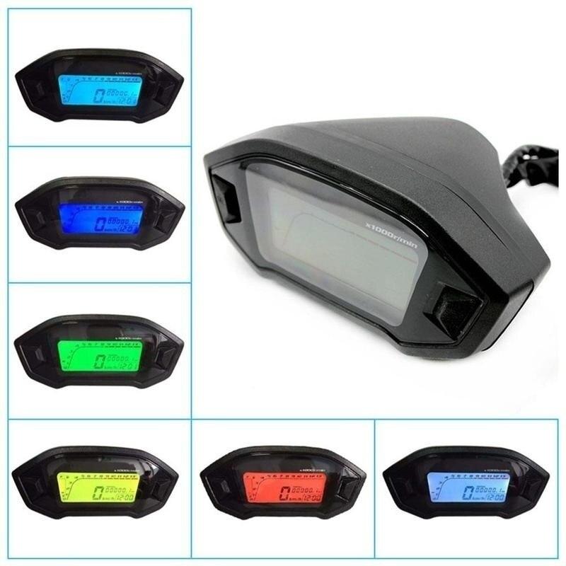 Universal Tachometer ATV Motorcycle LCD Digital Speedometer Odometer KMH Gauge Backlight Motorcycle Odometer for 1,2,4 Cylinders