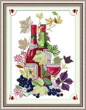 Kits de point de croix en coton blanc 11ct   En verre à vin, ensemble de broderie sur toile, couture faite à la main, décoration de maison