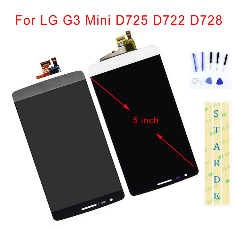 "STARDE reemplazo LCD para LG G3 Mini D725 D722 D728 LCD pantalla MONTAJE DE digitalizador con pantalla táctil marco 5"""