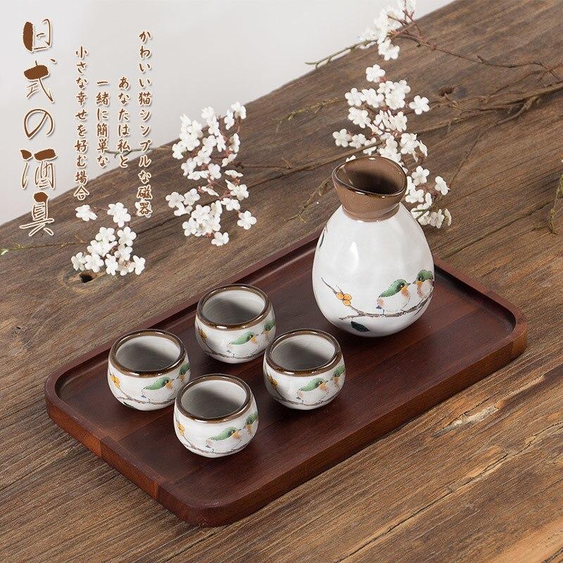 Japanese style wine set liquor sake white yellow wine pot four ceramic cups high temperature dispenser liquor winebowl