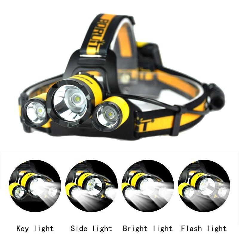 Faros LED BORUIT B17, Faro de Camping L2 + 2R5, faro delantero deportivo para pesca, luces de linterna para la batería AA (no incluidas)