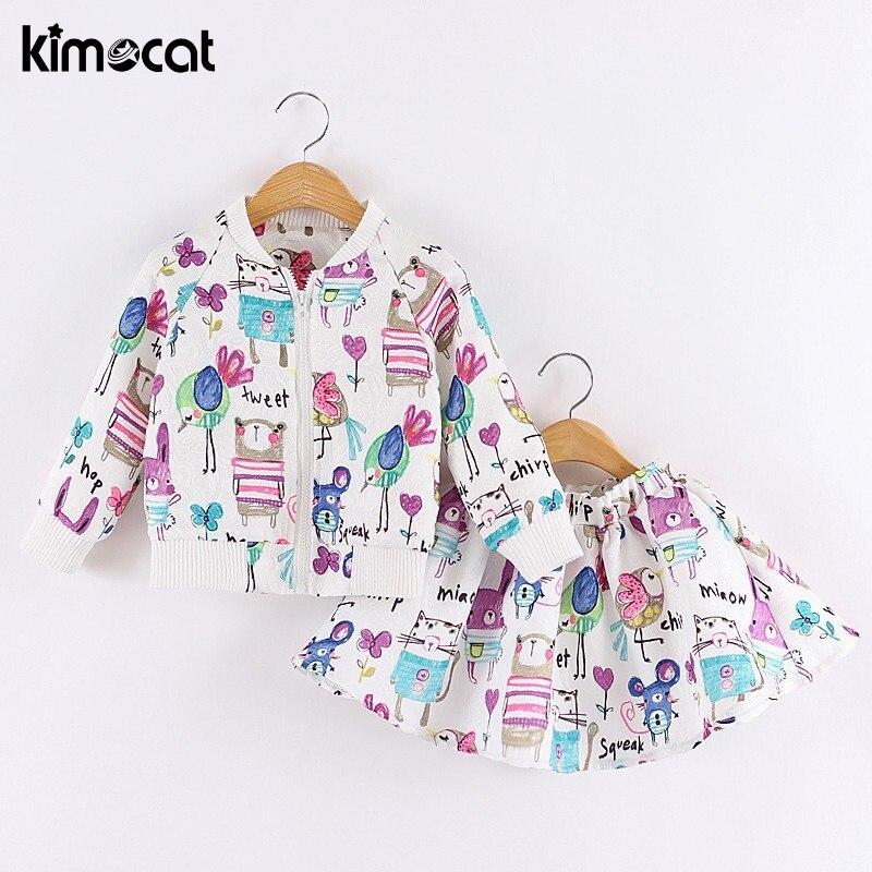 Kimocat primavera y otoño grafiti de dibujos animados de manga larga marca Niñas Ropa trajes deportivos para niños pequeños (chaqueta + falda)