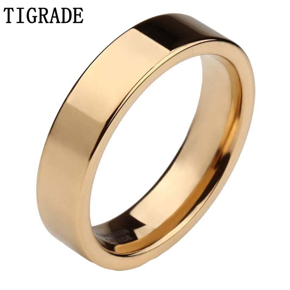 TIGRADE Золотое мужское кольцо из карбида вольфрама 6 мм полированный женский свадебный браслет унисекс обручальные кольца для пары удобная по...