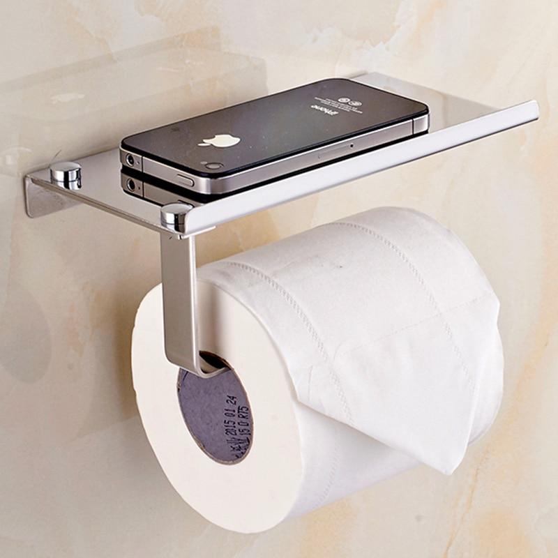 Bathroom Paper Phone Holder Shelf Stainless Steel Toilet Paper Holder Wall Mount Mobile Phones Towel Rack Bathroom Accessories