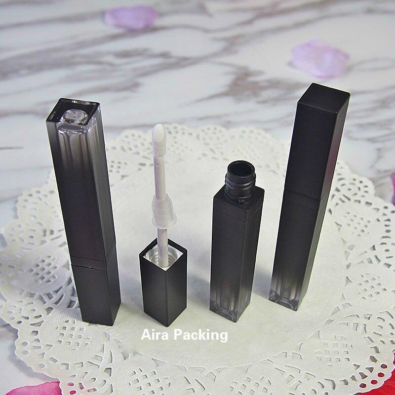 4ML 50 unids/lote tubo de brillo de labios de plástico vacío DIY negro gradiente de labios líquido rellenable botella portátil mujer herramienta de belleza labio