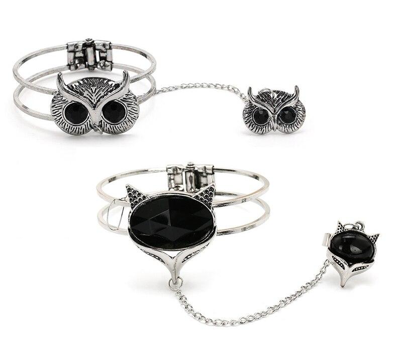 Brazalete Retro de plata con diseño de zorro, búho, cadena esclava, brazalete con anillo de dedo para regalo de mujer
