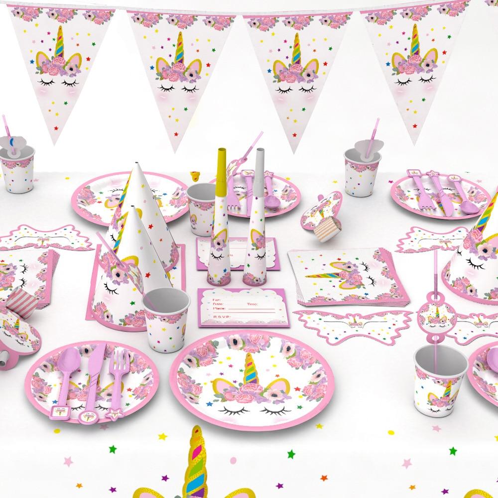 Partido de unicornio Kits 1st cumpleaños papel de unicornio tazas/placas de servilleta decoraciones para Cumpleaños Infantiles bebé ducha partido suministros