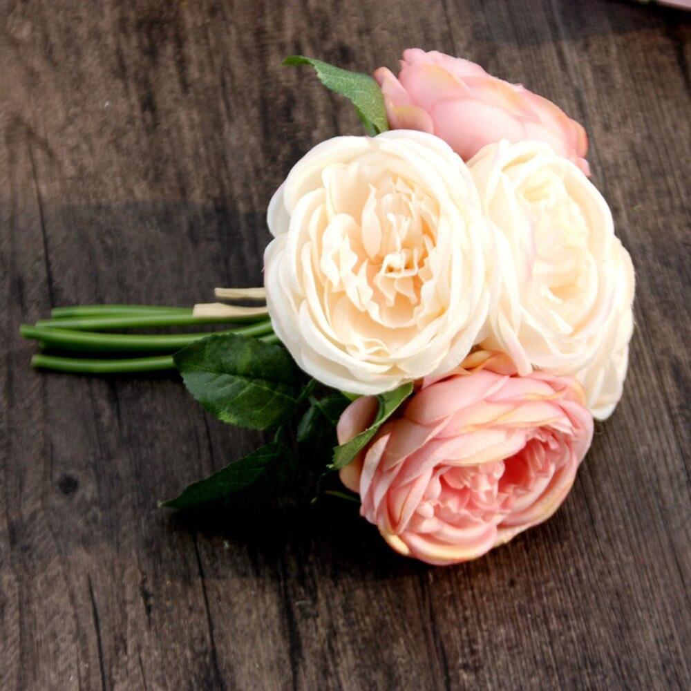 Novo na moda 2018 falso flor artificial rosa flores de seda 5 flor cabeça folha decoração do jardim diy rosa fontes festa