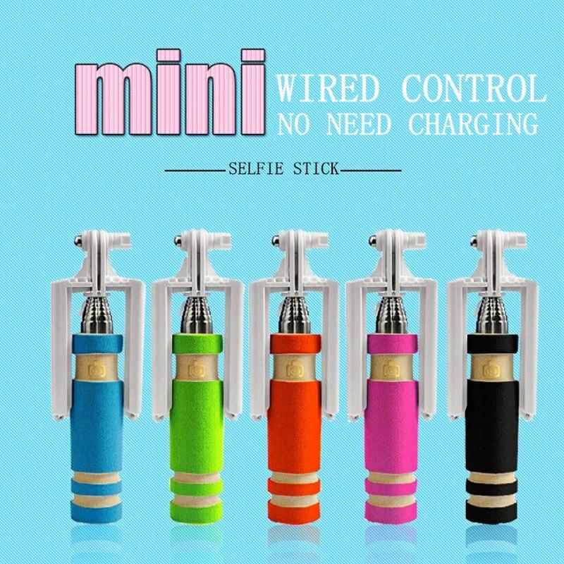 Mini Selfie Stick obturador remoto con cable Monopod portátil al aire libre Mini Selfiestick para Android IPhone 5 colores