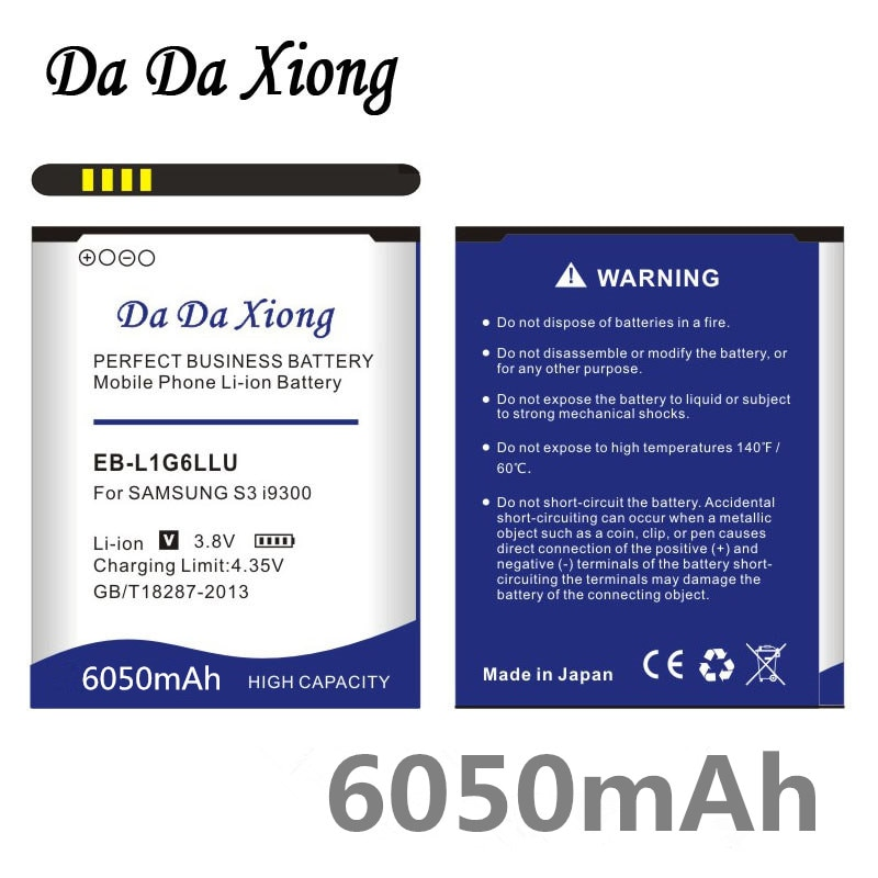 6050mAh EB-L1G6LLU EB535163LU Batterie pour Samsung S3 i9300 i747 i9308 i9305 i879 i9060 i9301 i9118 i9082 i535 i9300 i9308 L710