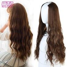 """WTB-peluca larga y rizada en forma de U para mujer, pelo artificial sintético resistente al calor, largo y ondulado, 24 """", negro y marrón"""