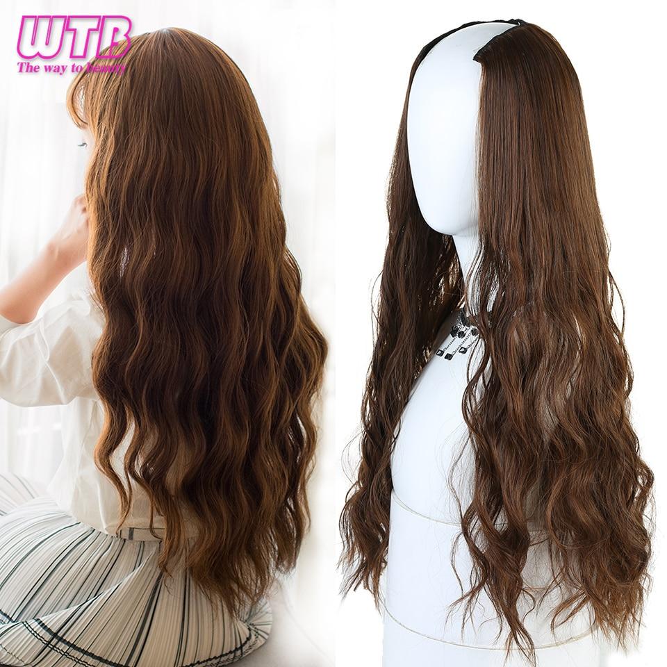"WTB largo ondulado Culry u-shaped Half Wig para mujeres 24 ""Natural femenino largo negro marrón pelucas resistentes al calor pelo sintético falso"