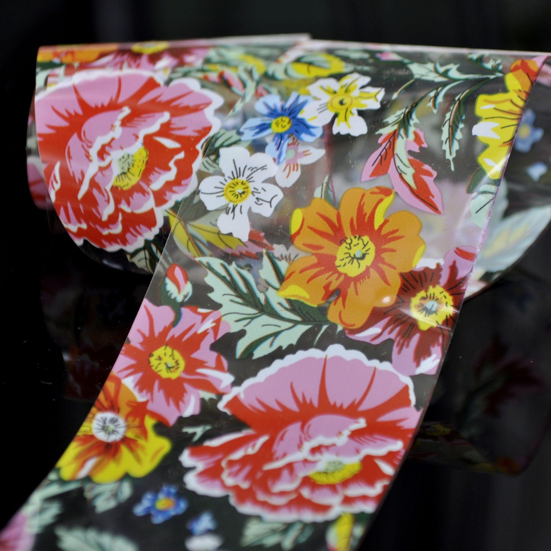 Peony Flower Design Colorful Nail Foil Nail Art Glue Transfer Sticker Roll in Jar 100cm SY624