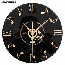 12 inch 30cm Creative Retro Wall Clock Music Notes Vinyl CD Album Hanging Clocks Black Living Room Home Bedroom Cafe Decor 2020