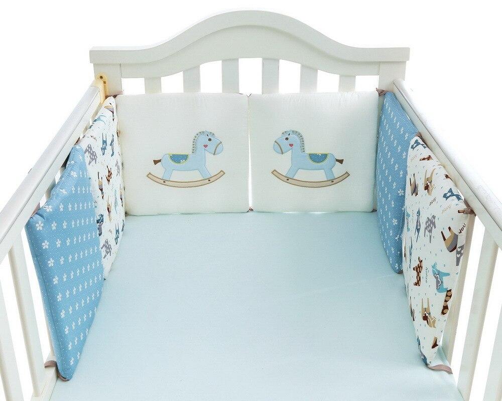 Protector de cama para cuna infantil, Protector de cama para bebés, cuna de algodón, ropa de cama para niños, 6 piezas, cojín de almohada de caballo azul para niños y niñas