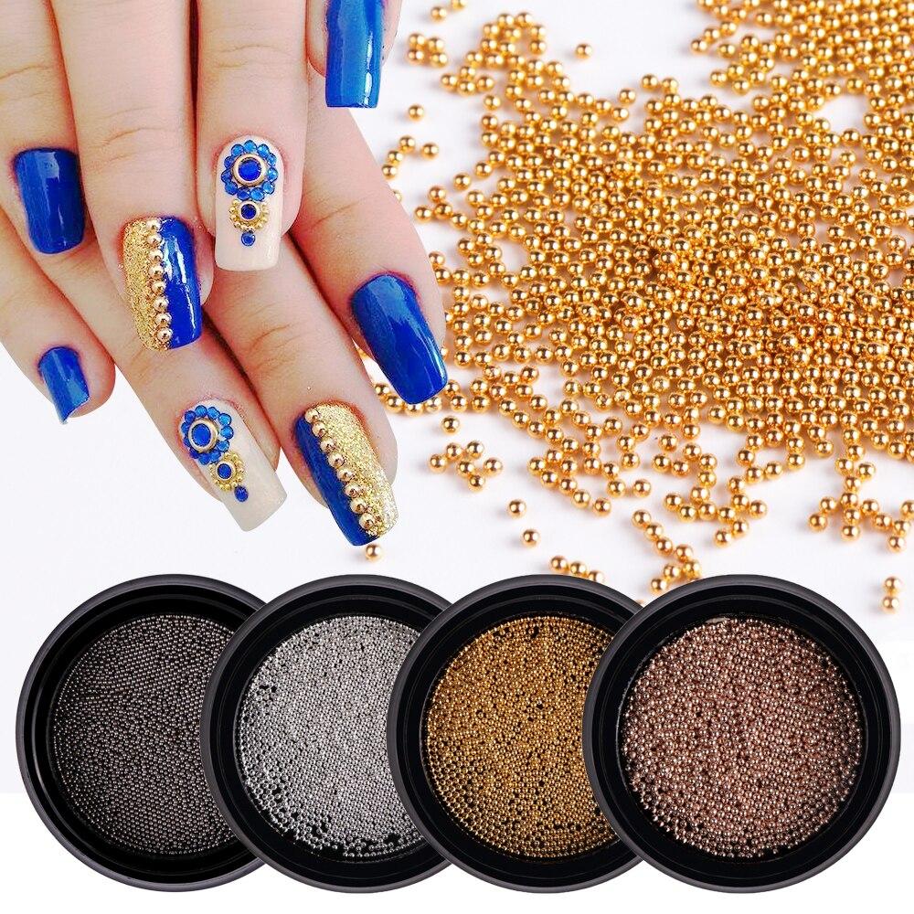1 caja de Arte de uñas 3D Mini Caviar de acero de Metal de oro/plata/color de rosa oro/arma Grey pendientes de diamantes de imitación brillo decoración de uñas JI031