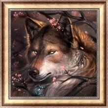 Venda quente 5d pintura diamante imagem do Lobo e do mosaico da flor strass handmade needlework diamante bordado decoração de Casa YW