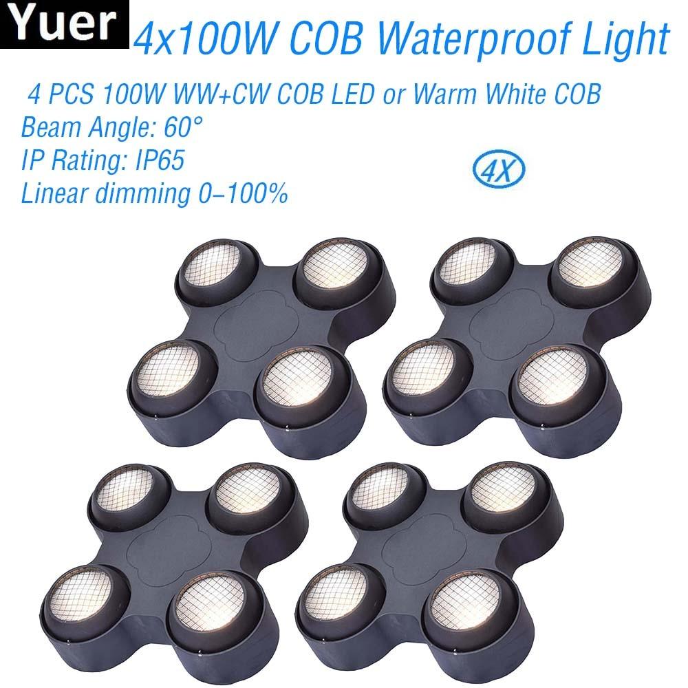 4 Pcs/Lot étanche 4x100W effet blanc chaud lumière DMX512 son effet de scène lumière pour DJ Disco partie discothèque Bar lumières