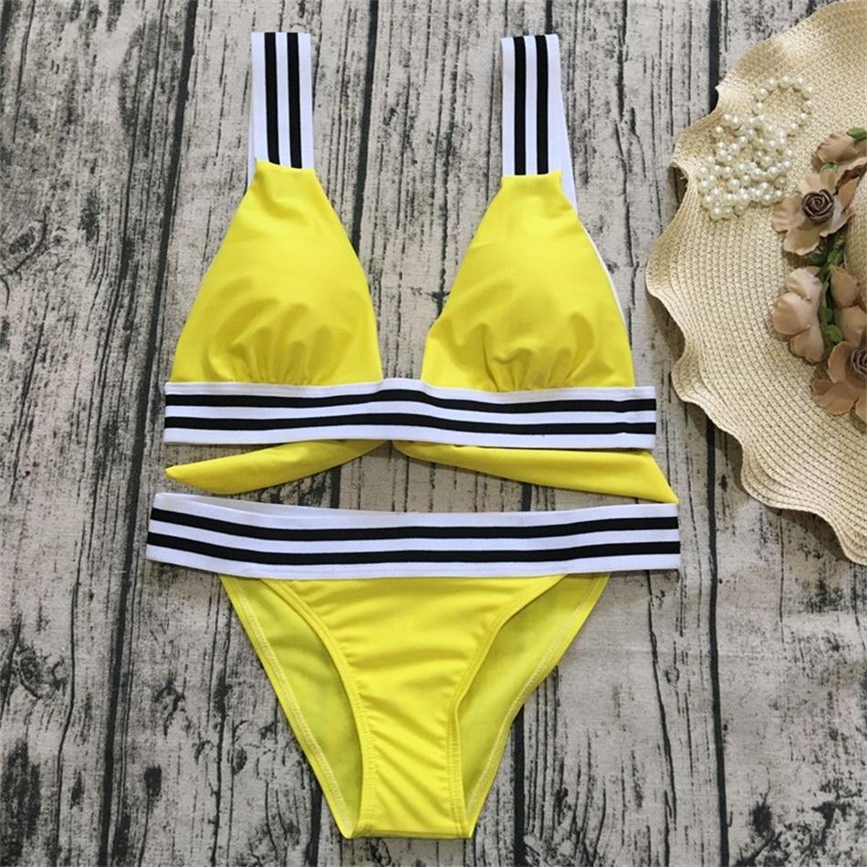 Bikini amarillo negro y blanco a rayas traje de baño para mujeres banda elástica Hater traje de baño Sexy Push Up traje de baño conjunto de Bikini sólido 2019