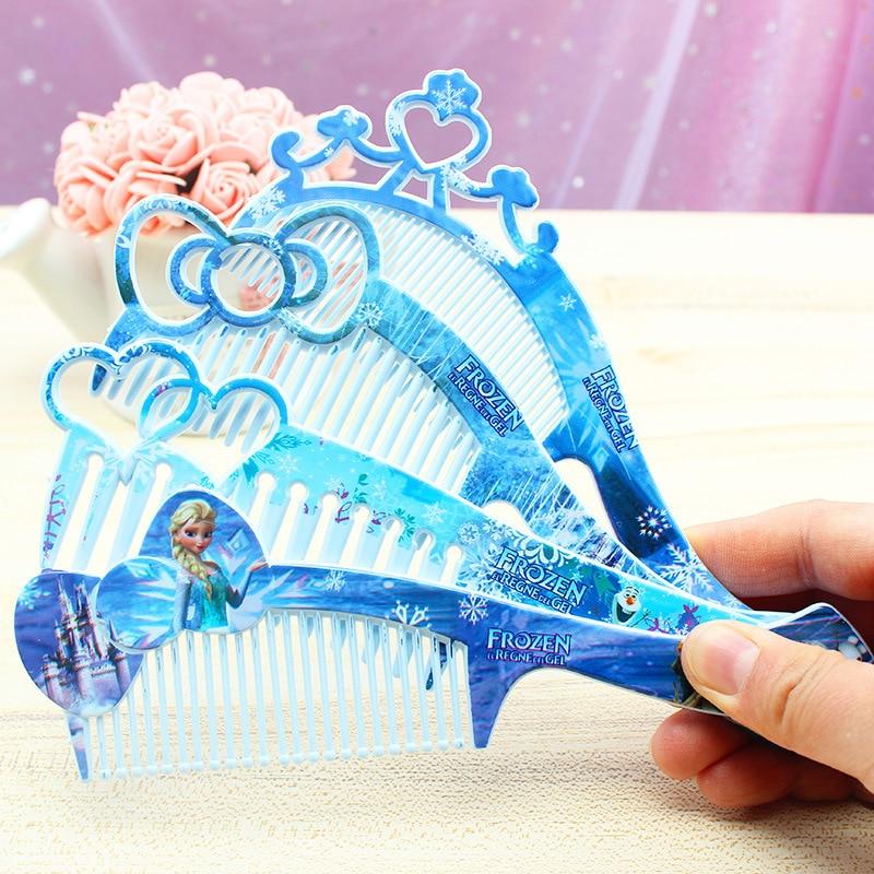 Peineta de Frozen de Disney para niños, accesorios para muñecas Elsa, tocado portátil para niños, peine cosmético de juguete para niñas, peine con lazo bonito de princesa