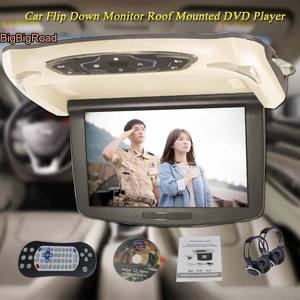 BigBigRoad For Ford Transit Car Roof Mounted in car Digital Screen Support HDMI USB FM TV Game IR  Remote Flip Down Monitor DVD