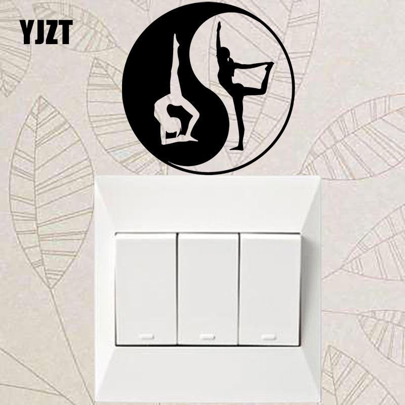 YJZT Yin Yang Símbolo Saúde Yoga Esporte Meninas Decalques de Vinil Adesivo de Parede Interruptor de Luz 8SS-2484