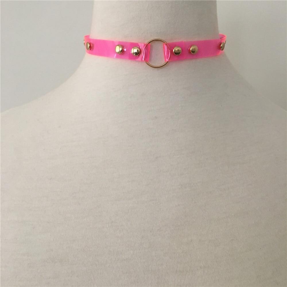 Collar femenino, gargantilla de PU de COLOR dorado, con círculo Chapado en el centro, Rosa neón