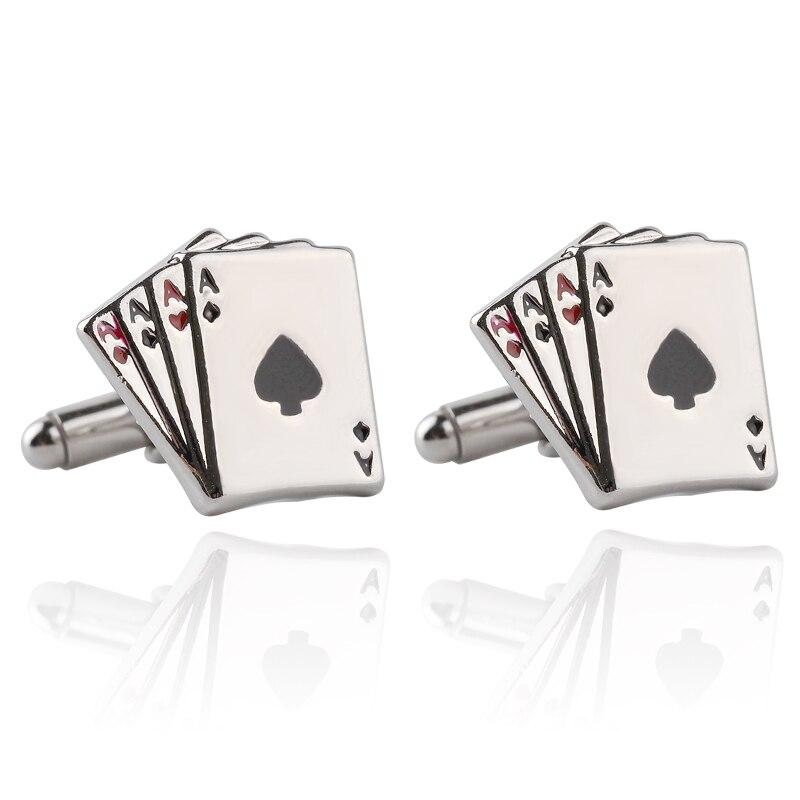Vintage 4A gemelos de póker para hombres de alta calidad exquisita plata negocios gemelos se adapta a los hombres camisas botón para puños juego de póquer