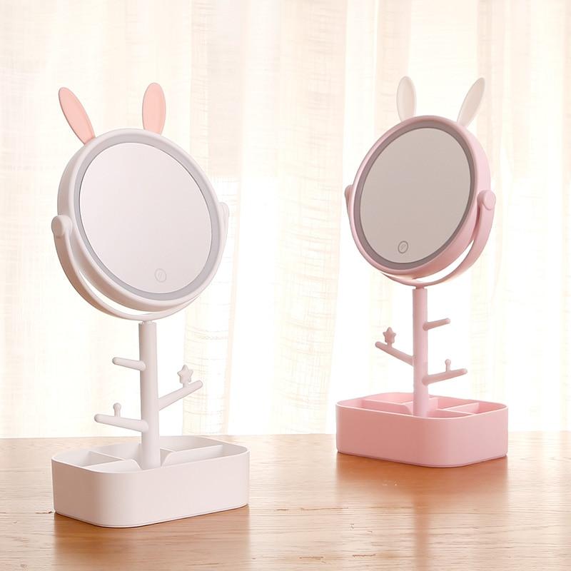 Espelho de Maquiagem com Luz Espelho de Vestir Desktop Preenchimento Criativo Adorável Menina Coração Hostel Maquiagem Espelho Mx01101030 Led Luz hd