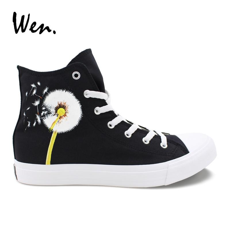 Wen Men Women Single Shoes Original Design Dandelion Hand Painted Black Canvas Shoes Sneakers Cross Straps Espadrilles Flat