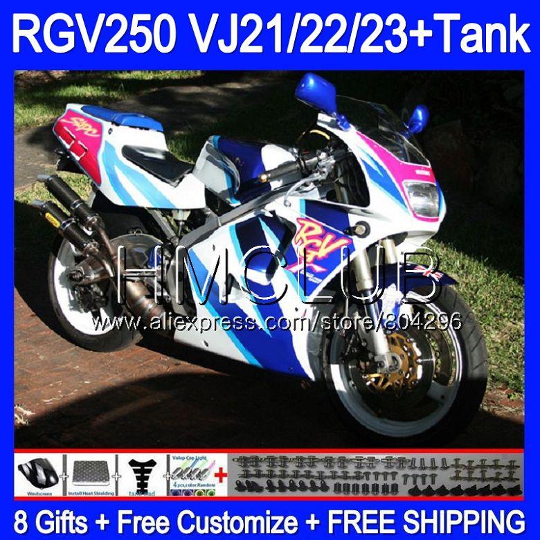+ أزرق أبيض خزان لسوزوكي VJ22 RGV250 88 94 95 96 97 98 39HM. 3 RGV-250 VJ23 آر جي 250 1988 1994 1995 1996 1997 1998 هدية