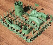 2018 mode 100 pièces en plastique armée hommes soldats militaire Figurine Action Figurine vert rouge jouets garçons enfants fête jeu cadeau 4CM