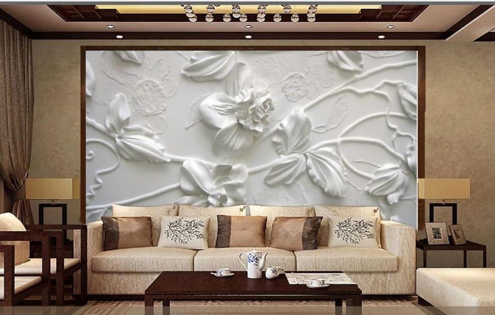 Papel pintado Simple europeo elegante flores blancas 3d murales para sala de estar papel pintado clásico para paredes