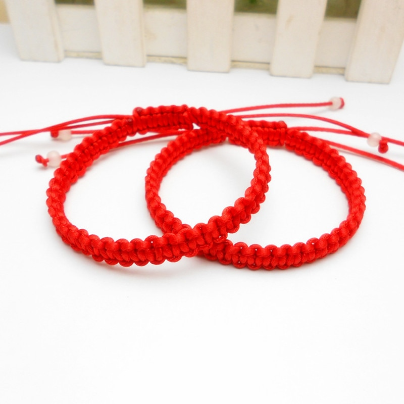 Gran oferta de hilo rojo cuerda suerte pulsera de nudo de las mujeres pulseras de encanto para hombres amantes mejor regalo amistad brazaletes
